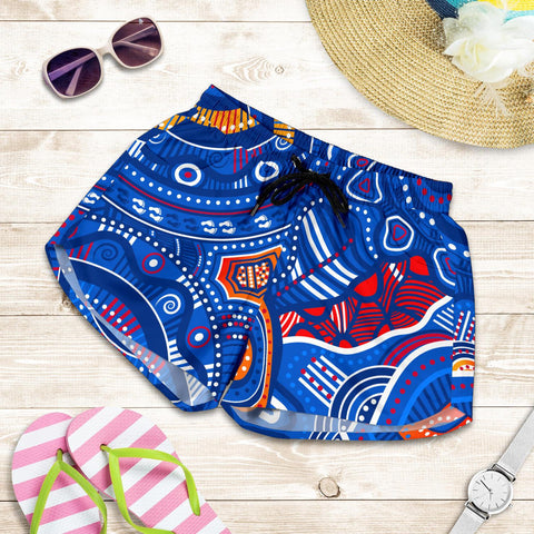 1stAustralia Aboriginal Women's Shorts - Indigenous Footprint Patterns Blue Color