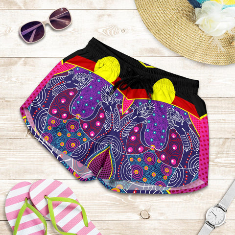 1stAustralia Women's Short - Aboriginal Sublimation Dot Pattern Style (Violet)