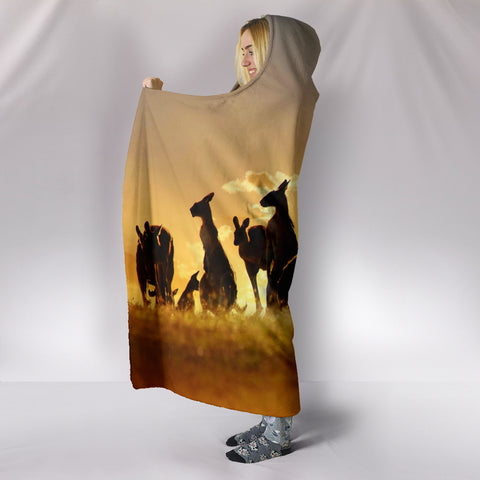 Image of Kangaroo Under Sunset Hooded Blanket