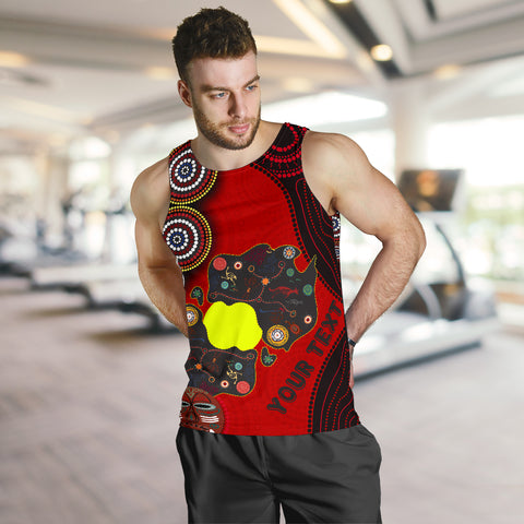(Custom Text) 1sAustralia Men's Tank Top, Australia Map - Aboriginal Dot Pattern - BN17 - 1staustralia.com
