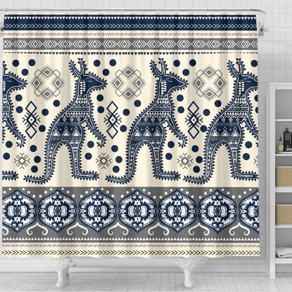1stAustralia Shower Curtain - Aboriginal Patterns Curtain Kangaroo