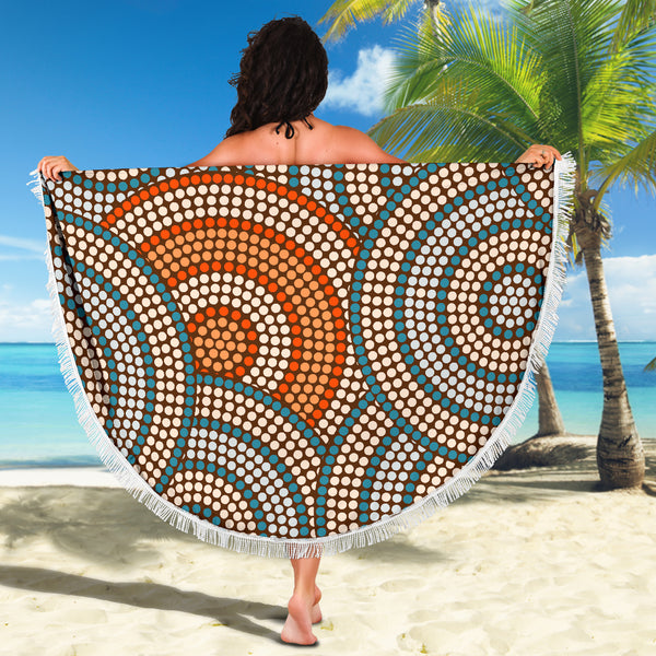 1stAustralia Beach Blanket - Aboriginal Dot Painting Blanket Ver07 - 59 x 59 Inches - Th1