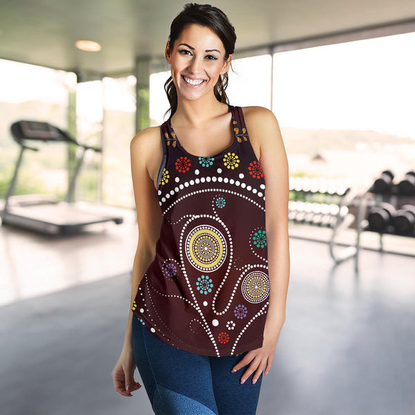 1stAustralia Racerback Tank - Aboriginal Dot Painting Top Tank Tree - Women - Th1