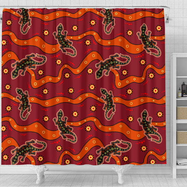 1stAustralia Shower Curtain - Aboriginal Patterns Curtain Lizard