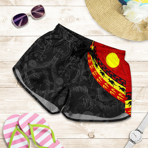 1stAustralia Aboriginal Women's Shorts, Indigenous Flag Circle Dot Painting