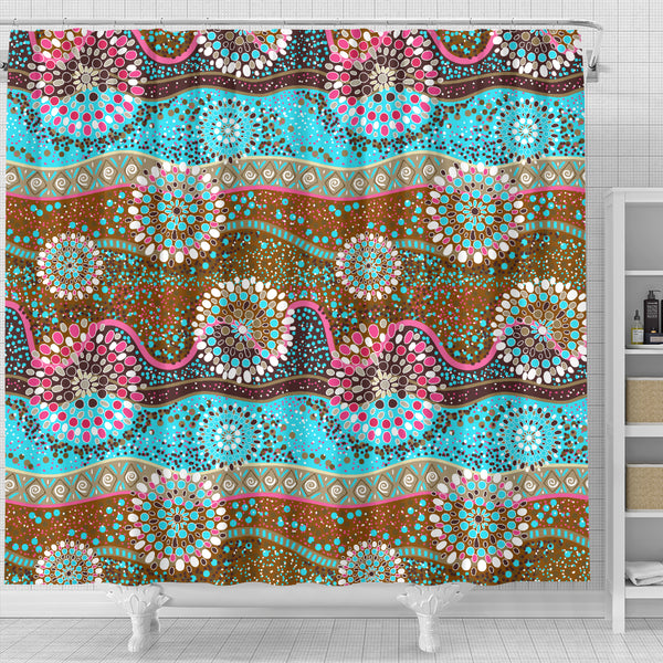 1stAustralia Shower Curtain - Aboriginal Dot Painting Curtain Color Art