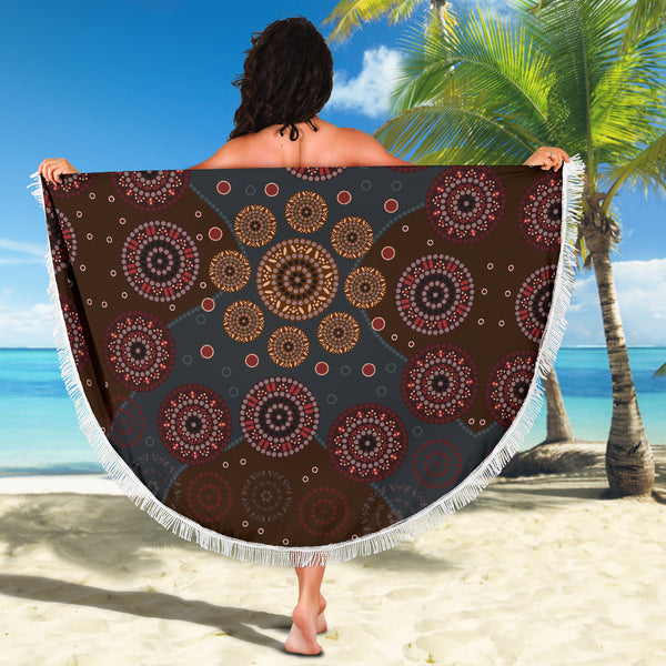 1stAustralia Beach Blanket - Aboriginal Dot Painting Blanket Ver02 - 59 x 59 Inches - Th1