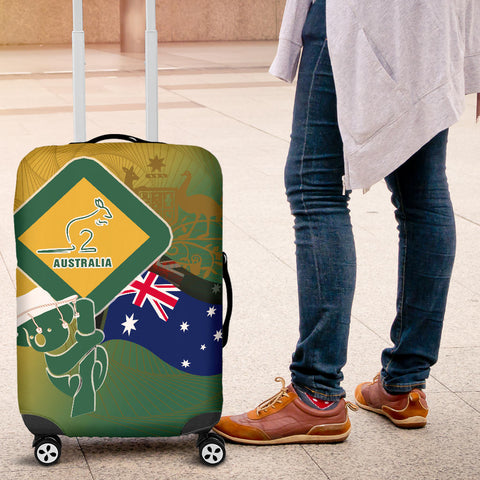1stAustralia Luggage Covers - Aus Flag and Coat Of Arms Suitcase Kangaroo and Koala Sign