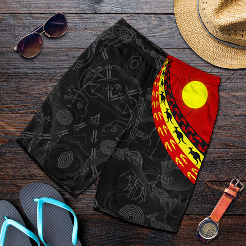 1stAustralia Aboriginal Men's Shorts, Indigenous Flag Circle Dot Painting