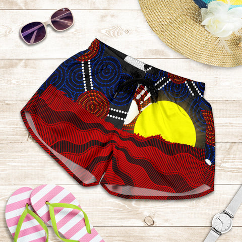 1stAustralia Aboriginal Women's Shorts, Australia Indigenous Flag Sun Dot Painting