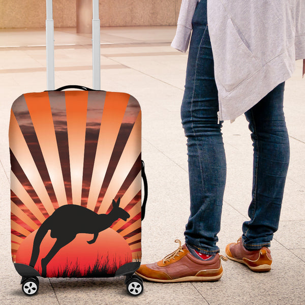 1stAustralia Luggage Cover - Kangaroo Suitcase Sunset Ver03 - Th1