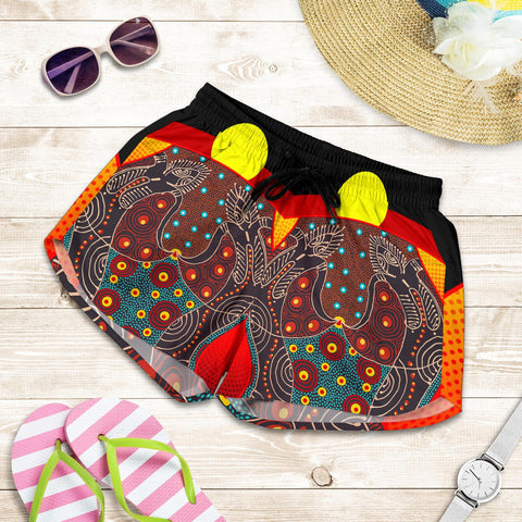 1stAustralia Women's Short - Aboriginal Sublimation Dot Pattern Style (Red)