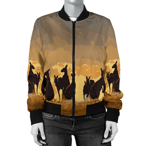 Australia Womens Bomber Jacket Kangaroo Family Sunset TH1