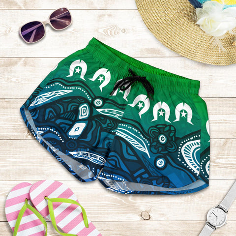 1stAustralia Torres Strait Islands Women's Shorts - Blue Ocean