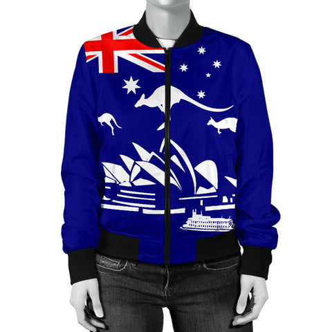 Australia Womens Bomber Jacket Flag Kangaroo And Sydney Opera Th9