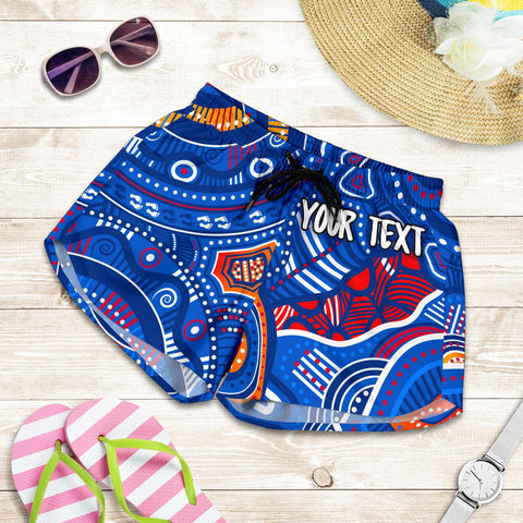 [Custom Text] 1stAustralia Aboriginal Women's Short - Indigenous Footprint Patterns Blue Color