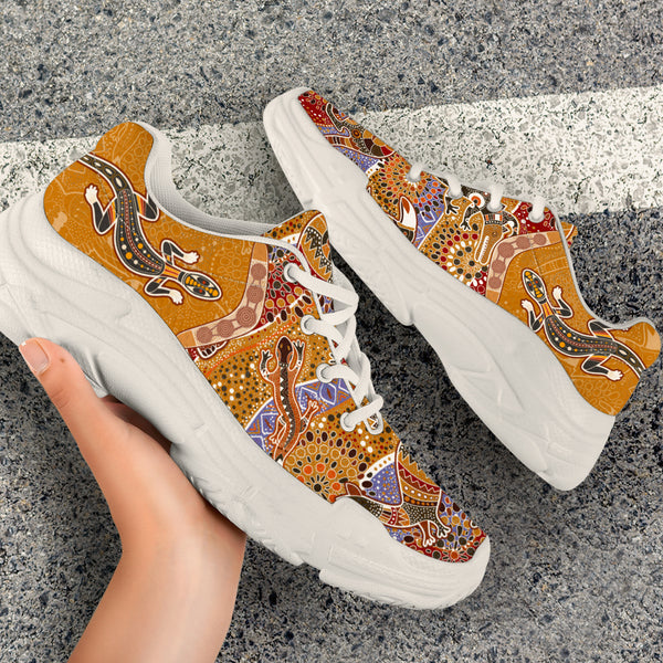 1stAustralia Aboriginal Sneakers, Lizard Boomerang Patterns Koala Kangaroo Chunky Shoes - Bn14