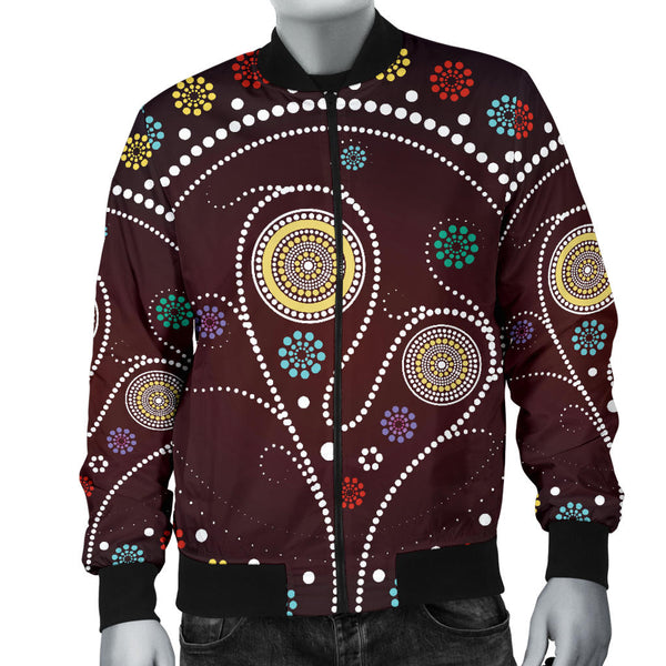 1stAustralia Bomber Jacket - Aboriginal Dot Painting Jacket Tree - Men - Th1