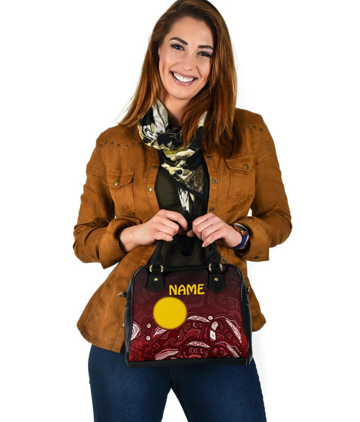 [Custom Text] 1stAustralia Aboriginal Shoulder Handbag - Red Landscape