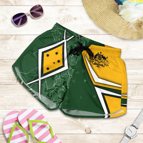 1stAustralia Women's Shorts - Aussie Flag (Green)