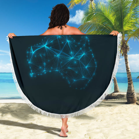 Image of Australia Map Glowing Beach Blanket TH1