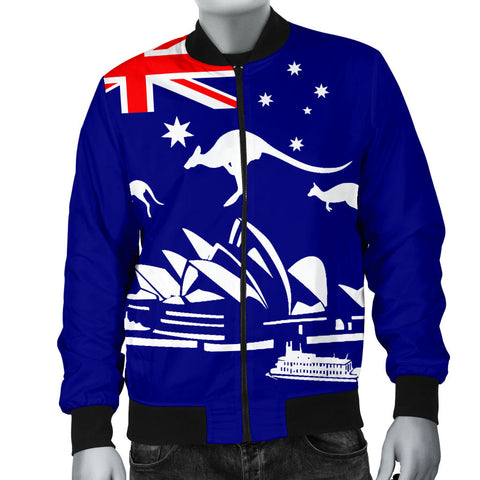 Australia Mens Bomber Jacket Flag Kangaroo And Sydney Opera Th9