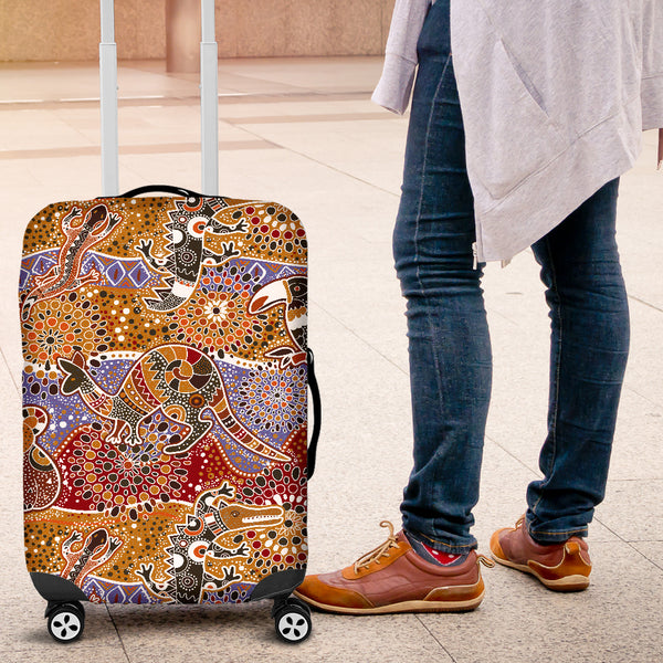 Australia Luggage Covers Aboriginal Bohemian Animals