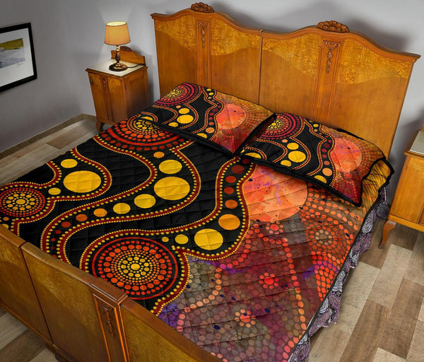 1stAustralia Aboriginal Quilt Bed Set - Australia Indigenous Flag Circle Dot Painting Art (Golden)