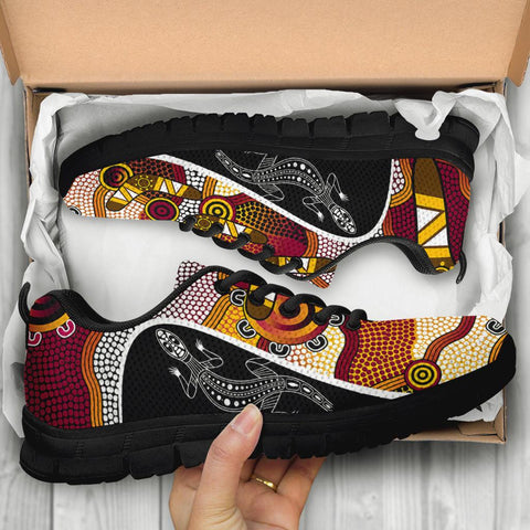 1stAustralia Sneakers - Aboriginal Dot Painting Lizard Shoes