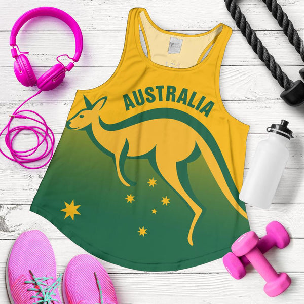 1stAustralia Racerback Tank - Kangaroo Top Tank Australia Coat Of Arms National Color Women - Bn14