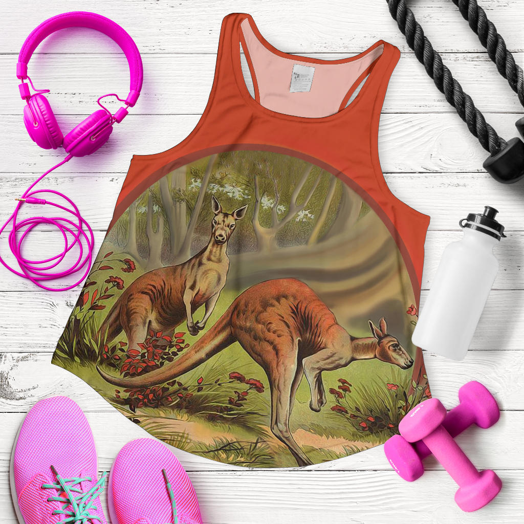 Australia Womens Racerback Tank Two Kangaroo In The Garden