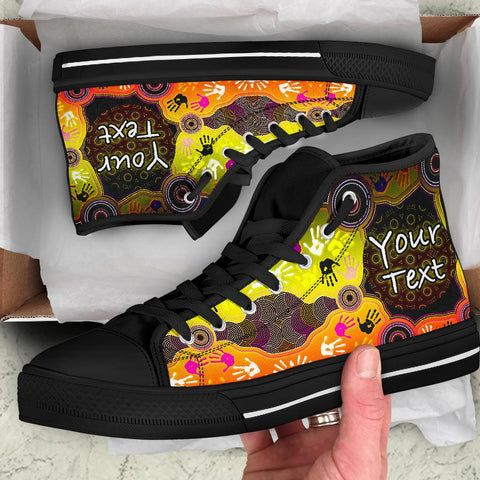 [Custom] 1stAustralia Aboriginal High Top Shoe, Indigenous Circle Dot Painting Hand Art - B