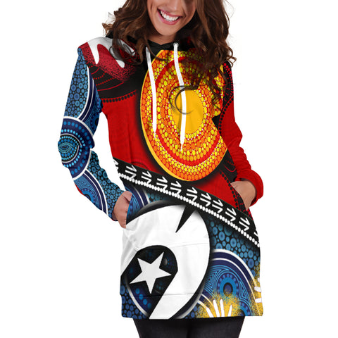 1stAustralia Hoodie Dress - Australian NAIDOC Aboriginal and Torres Strait Island Flags - BN19