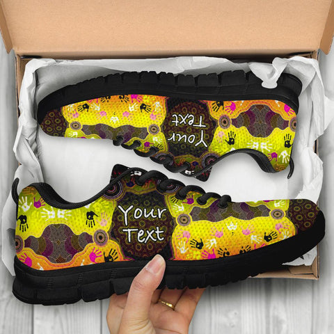 [Custom] 1stAustralia Aboriginal Sneakers, Indigenous Circle Dot Painting Hand Art - B
