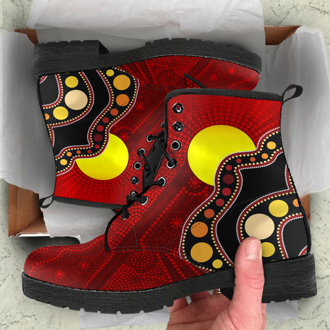 1stAustralia Aboriginal Leather  Boots, Australia Indigenous Flag Circle Dot Painting Art Boots