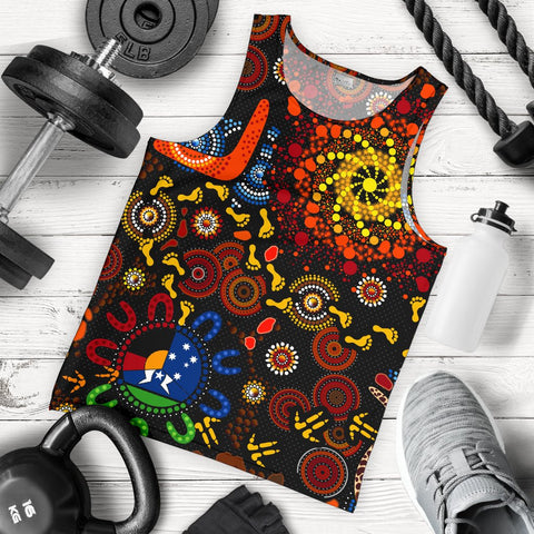 1stAustralia Aboriginal Men's Tank Top - Indigenous Footprints