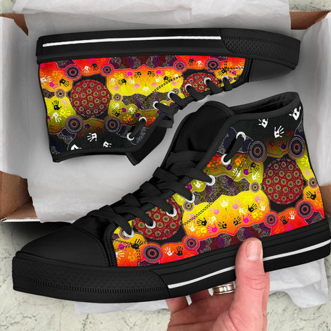 1stAustralia Aboriginal High Top Shoes, Indigenous Circle Dot Painting Hand Art