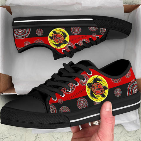 1stAustralia Canvas Shoe - Aboriginal Dot Painting Shoe Turtle - Low Top