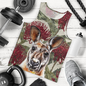 Kangaroo in Waratah Men Tank Top