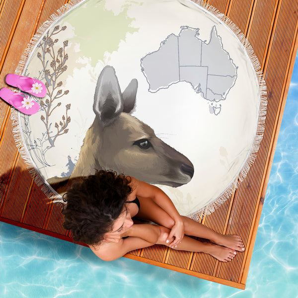 1stAustralia Beach Blanket - Kangaroo Blanket Australia Map - 59 x 59 Inches - Th1