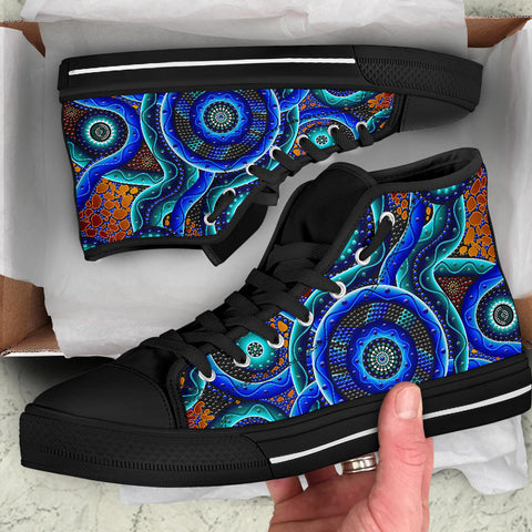 1sAustralia High Top Canvas Shoes Aboriginal Painting Shoes Blue Dot Painting Art