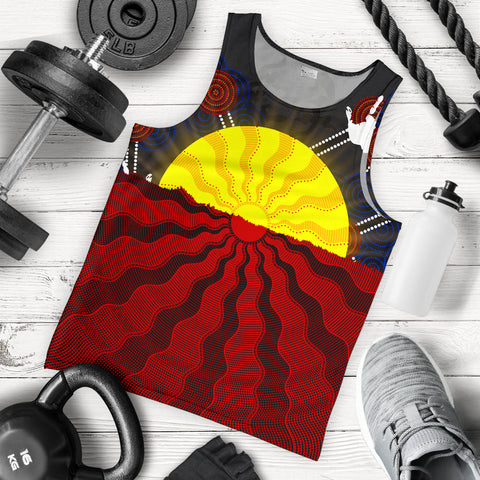 1stAustralia Aboriginal Men's Tank Top, Australia Indigenous Flag Sun Dot Painting