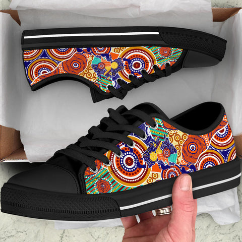 1stAustralia Aboriginal Low Top Shoes - Australian Map Dot Painting