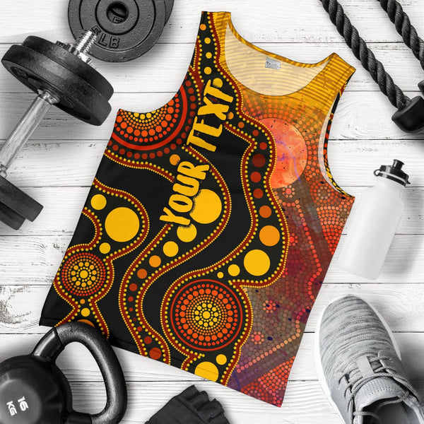 [Custom Text] 1stAustralia Aboriginal Men's Tank Top - Australia Indigenous Flag Circle Dot Painting Art (Golden)