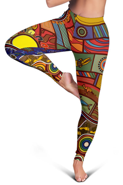 1stAustralia Leggings - Shaman People and Animals Ornaments in Aboriginal Australian Style - BN17