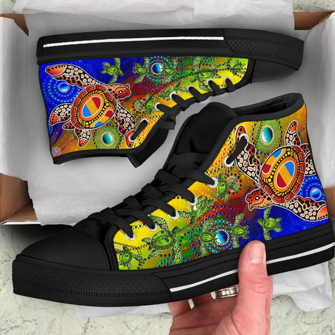 1stAustralia Aboriginal Canvas Shoe, Turtle Art Ocean Galaxy Dot Painting - High Top