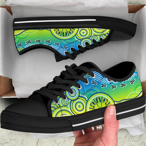 1stAustralia Aboriginal Low Top Shoes - Dot Painting Indigenous Circle Patterns