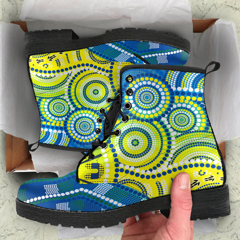 1stAustralia Aboriginal Leather Boots - Dot Painting Indigenous Circle Patterns