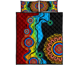 1stAustralia Quilt Bed Set - Aboriginal Quilt Bed Set Blue Dream