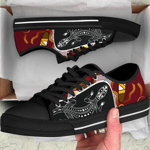 1stAustralia Low Top Shoes - Aboriginal Dot Painting Lizard Shoes
